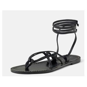 ZARA Flat Leather Sandals w/ Crisscross Straps